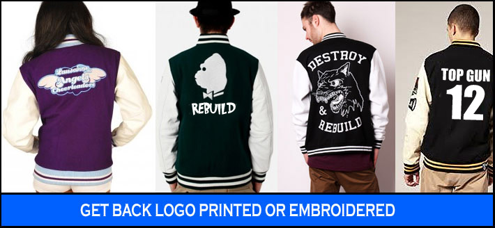Ideas for logo on varsity jackets using embroidery printing