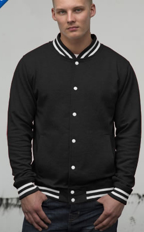 black body and sleeve college jacket