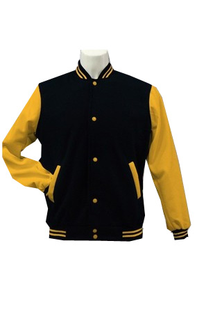 black body and gold sleeve varsity letterman tops