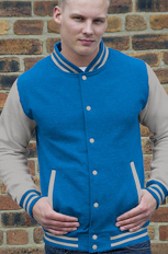 Sapphire blue with grey sleeve college jacket