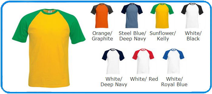 Colour Chart For Baseball Short Sleeve Tees