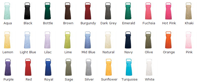 colour chart for 28 colurs in bib aprons
