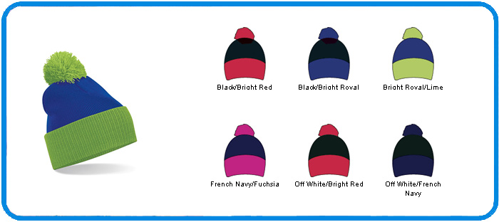 contrast style bobble knitted hats