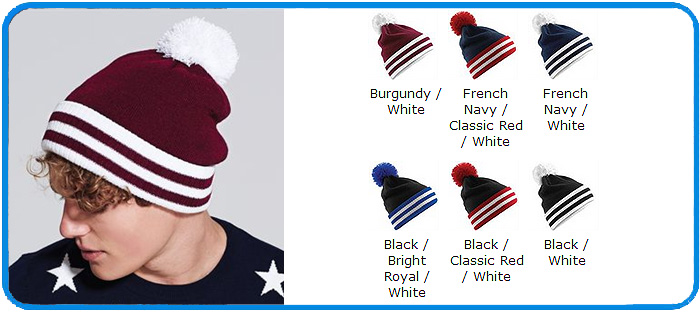 084e8b711cd Varsity beanie in 6 colours in contrast stripe style BC453