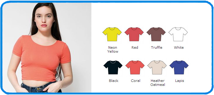 858a6a4871fbe Ladies fitted American Apparel crop top AA041