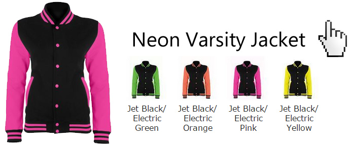 neon electric varsity jackets