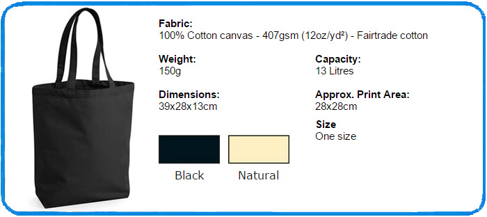 fair trade cotton camden shopper colour chart