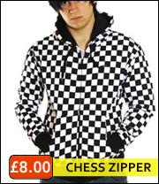 chess zip pattern hooded