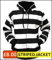 striped pattern hooded jacket