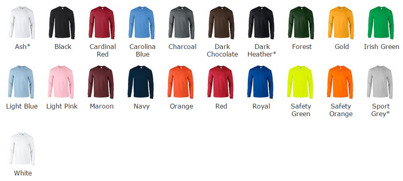 gildan ultra long sleeve in 21 colours chart