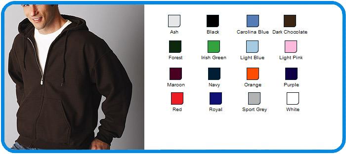 Childrens Full Zip Hoodie S-L Heavy Blend Kids Gildan Zipped Hooded Sweatshirt