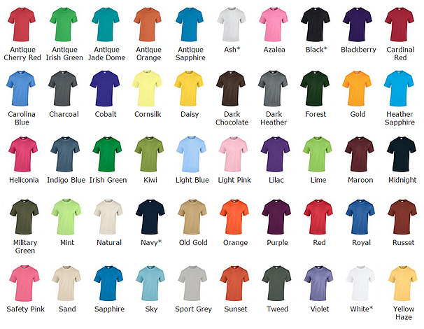 Gildan Ultra Heavy T Shirt Colour Chart