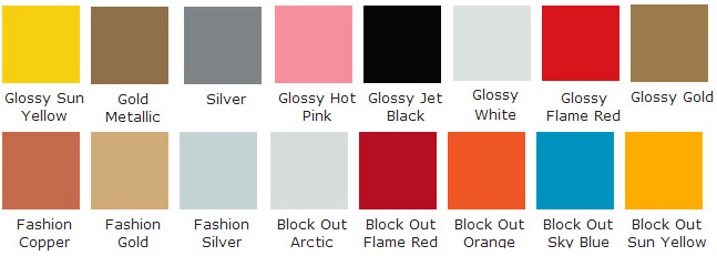 gloss and metalic colour chart