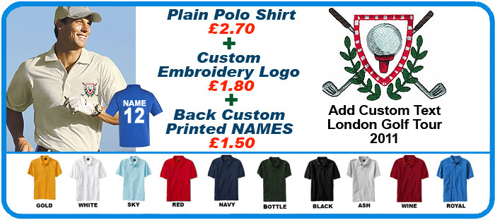 Embroidered Custom Polo Shirt With Sports Golf Logo