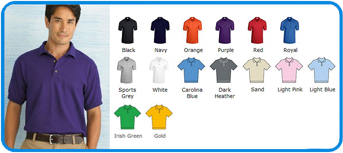 jersey knit gildan polo shirt colours