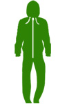kelly green top and bottom all in one hoodie onepiece