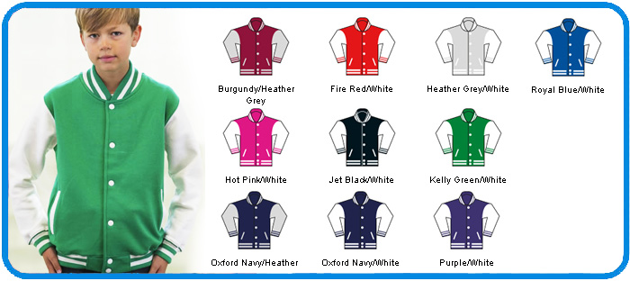 kelly green varsity kids jacket colour chart