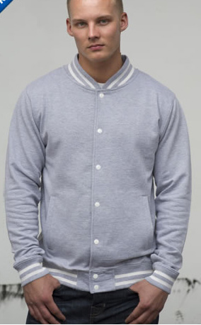 body and sleeve in heather grey college jacket