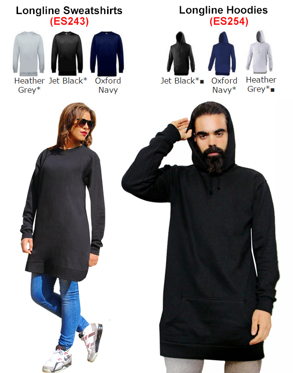 longer length sweatshirts