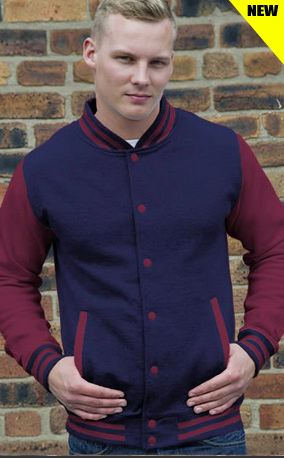 navy blue body and burgundy sleeve lettermans