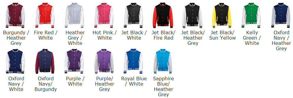 new JH043 varsity colour chart