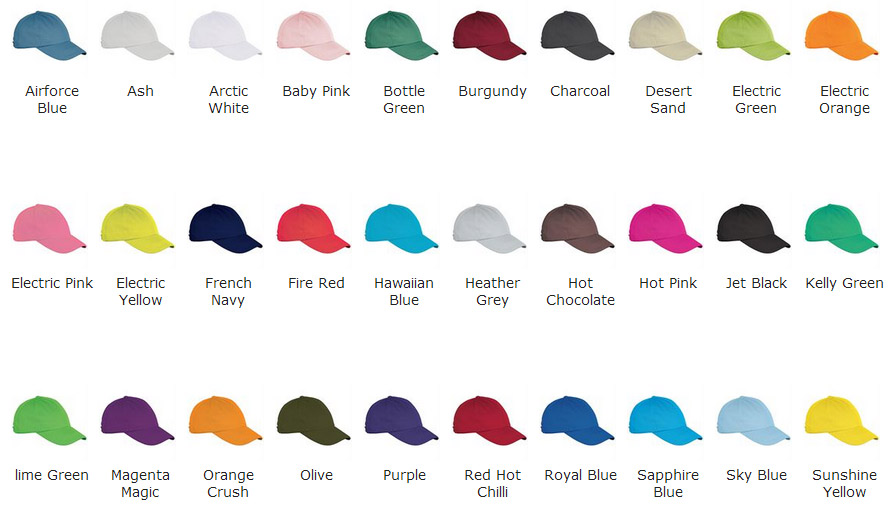 colour chart of cool caps