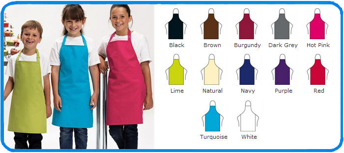 children sizes aprons in 12 colours