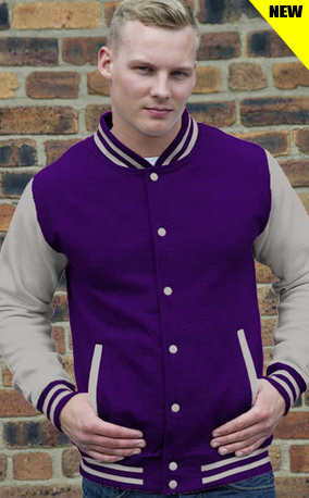 purple with grey letterman top