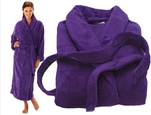 purple robes in terry towel fabric
