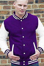 purple body with white sleeve letterman