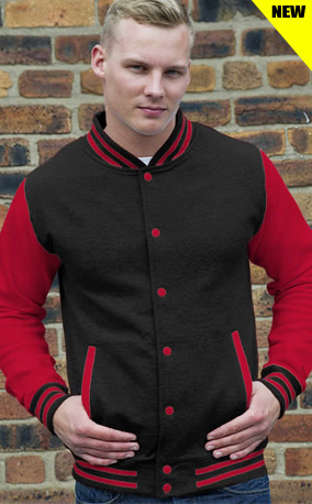 red sleeve with black body varsity top