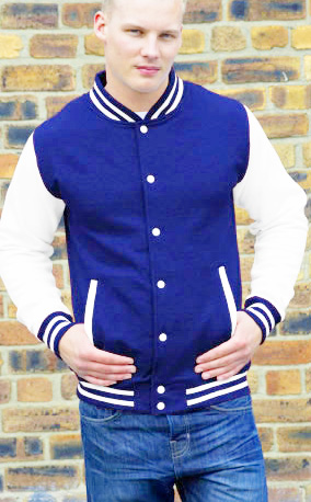 royal body and white sleeve letterman varsity jacket