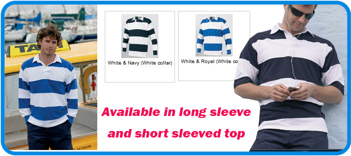 sewn stripe rugby shirts