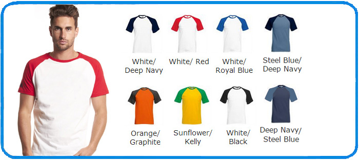 ss raglan sleeve colour chart t shirt