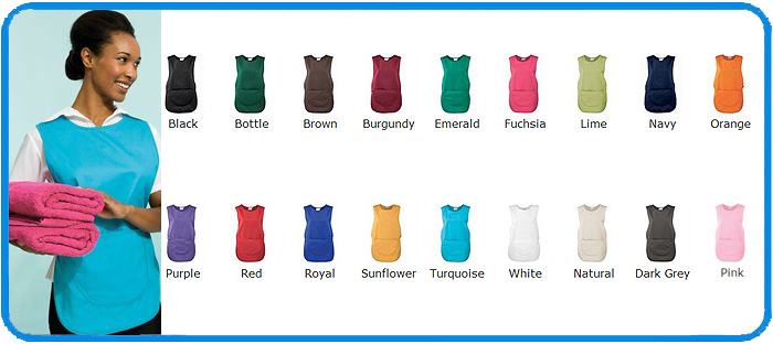 tabard with pocket colour range chart
