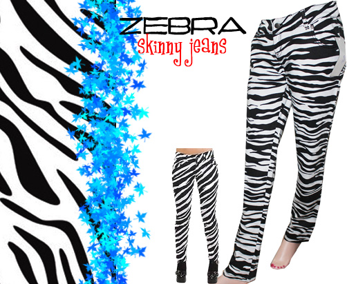 white and black zebra skinny jeans
